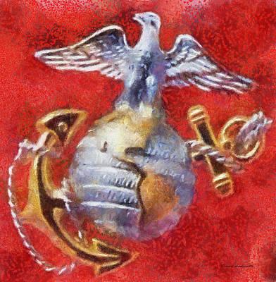 Usmc Emblem Photo Art Art Print