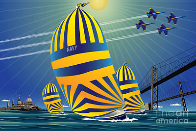 Bay Bridge Digital Art - Usna High Noon Sail by Joe Barsin