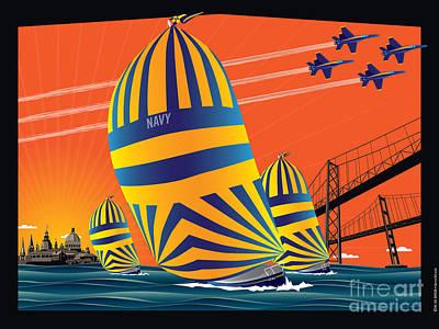 Usna Sunset Sail Art Print by Joe Barsin