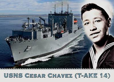 Usns Cesar Chavez - T-ake 14 Art Print by Pg Reproductions