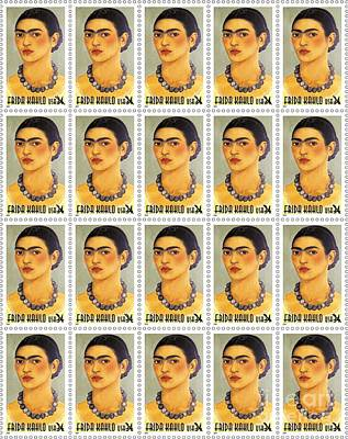 Stamps Drawing - Usps  Frida Kahlo by Pg Reproductions