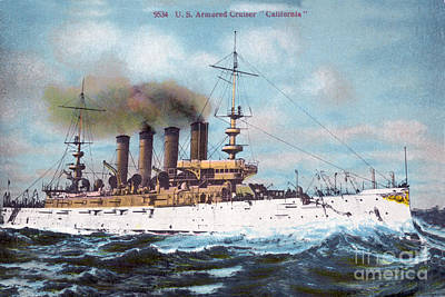 Photograph - Uss California Acr-6 Armored Cruiser Circa 1907 by California Views Mr Pat Hathaway Archives
