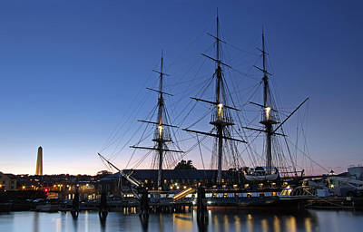 Uss Constitution And Bunker Hill Monument Art Print
