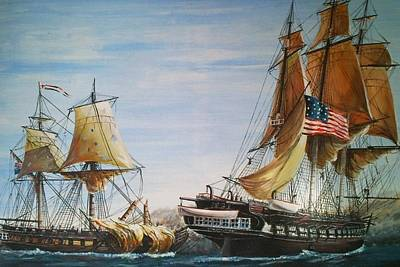 Uss Constitution And Hms Guerriere 1812 Original by Richard John Holden RA