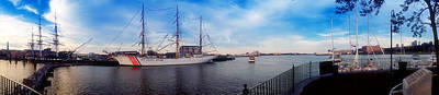 Uss Constitution And The Uscg Eagle Panoramic Art Print