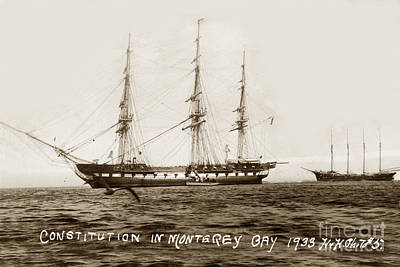 Photograph - Uss Constitution In Monterey Bay Oct 1 1933 by California Views Mr Pat Hathaway Archives