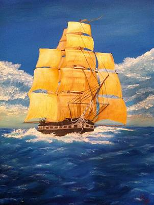 Gunship Painting - Uss Constitution by Roy J Moyle