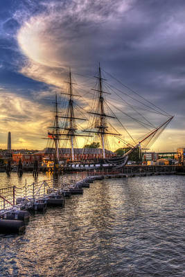 Uss Constitution Sunset - Boston Art Print by Joann Vitali