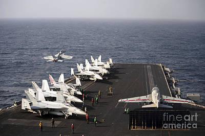 Enterprise Photograph - Uss Enterprise Conducts Flight by Stocktrek Images