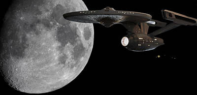 Print featuring the photograph Uss Enterprise With The Moon And Jupiter by Jason Politte