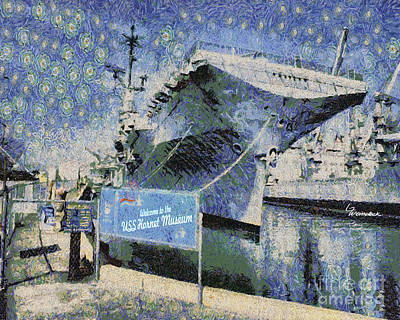 Art Print featuring the painting Alameda Uss Hornet Aircraft Carrier by Linda Weinstock