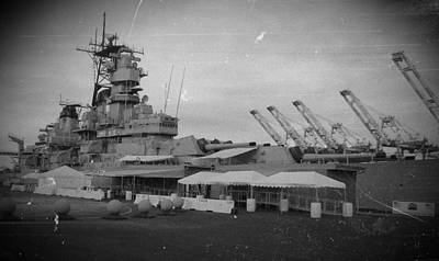 Uss Iowa Black And White Art Print