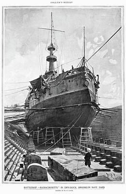 Drawing - Uss Massachusetts, 1898 by Granger