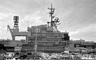 Photograph - Uss Midway Museum Cv 41 Aircraft Carrier - From Parking Lot View - Black And White by Claudia Ellis