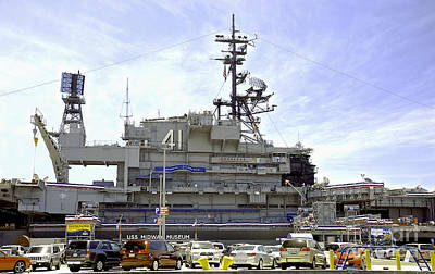 Photograph - Uss Midway Museum Cv 41 Aircraft Carrier- From Parking Lot View by Claudia Ellis