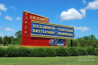 Photograph - U.s.s. North Carolina Battleship Sign by Bob Sample