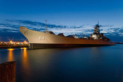 Uss Wisconsin At Sunset Art Print by Jerry Gammon