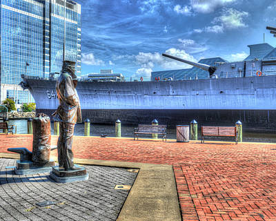 Uss North Carolina Photograph - Uss Wisconsin Bb 64 And The Lone Sailor by Greg Hager