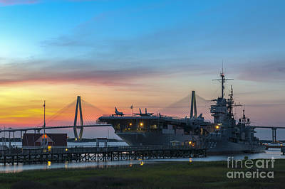 Photograph - Uss Yorktown Sunset by Dale Powell