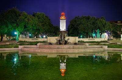 Ut Tower Regular Season Win Reflection Art Print by Preston Broadfoot