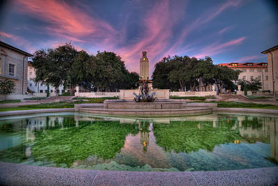 Fountain Photograph - Ut Tower Sunset by Preston Broadfoot