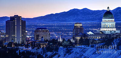City Sunset Photograph - Utah Capitol And Oquirrh Mountains Winter Sunset by Gary Whitton
