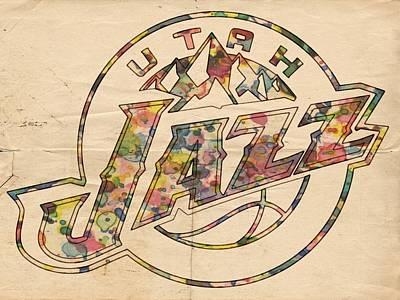 Utah Jazz Wall Art - Painting - Utah Jazz Poster Art by Florian Rodarte