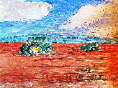 Painting - Utah John Deere Tractors Working 1 by Richard W Linford