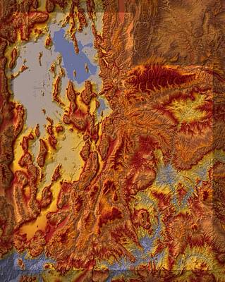 Utah Map Art Art Print by Paul Hein