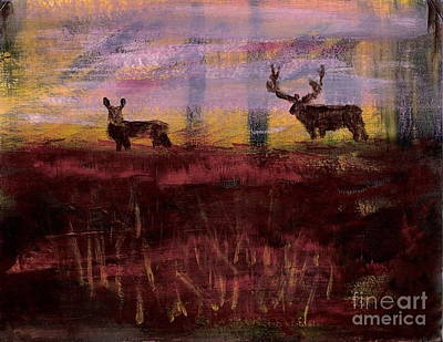 Painting - Utah Mule Deer Rut 1 by Richard W Linford