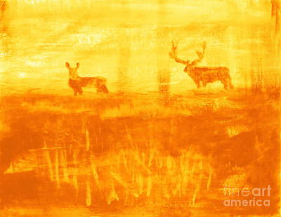 Painting - Utah Mule Deer Rut 3 by Richard W Linford