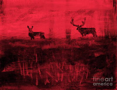 Painting - Utah Mule Deer Rut 4 by Richard W Linford