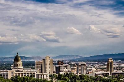Slc Temple Photograph - Utah State Capital Temple by La Rae  Roberts