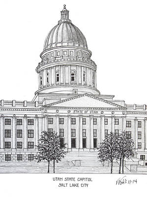 Drawing - Utah State Capitol by Frederic Kohli