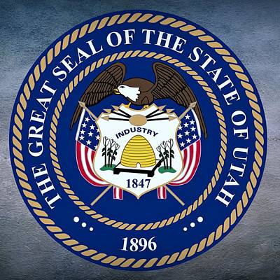 Six Flags Digital Art - Utah State Seal by Movie Poster Prints