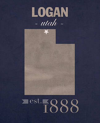 Utah State University Aggies Logan College Town State Map Poster Series No 117 Art Print by Design Turnpike