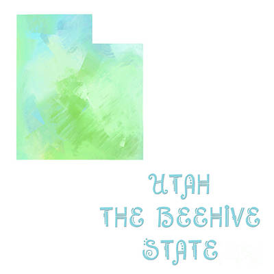 Utah - The Beehive State - Map - State Phrase - Geology Art Print by Andee Design