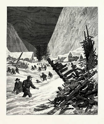 Utah The Recent Snow Slide In The Wahsatch Mountains Art Print