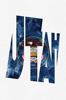 Digital Art - Utah Typographic Map Flag by Ayse Deniz