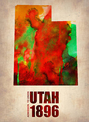 Utah Painting - Utah Watercolor Map by Naxart Studio
