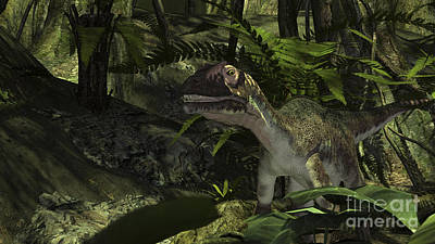 Digital Art - Utahraptor In A Prehistoric Forest by Kostyantyn Ivanyshen