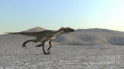 Running Digital Art - Utahraptor Running Across A Desert by Kostyantyn Ivanyshen
