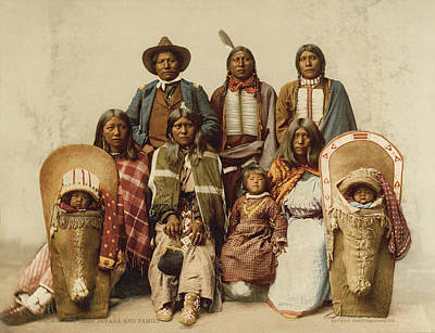 Ute Chief And His Family Art Print by Underwood Archives