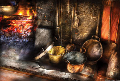 Utensils - Colonial Kitchen Art Print by Mike Savad