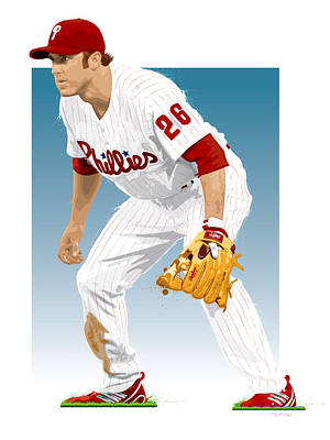 Gold Glove Digital Art - Utley In The Ready by Scott Weigner