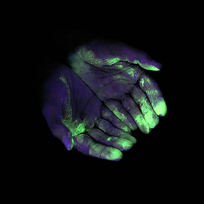 Hand Washing Photograph - Uv Light Showing Bacteria On Hands by Science Photo Library