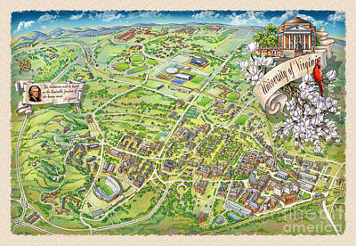 University Of Virginia Painting - Uva Grounds Illustration 2014 by Maria Rabinky