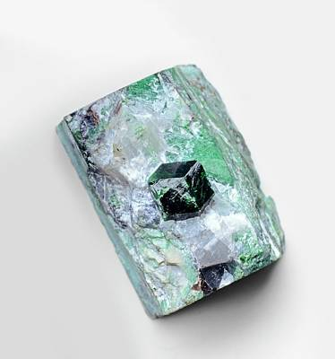 Garnet Photograph - Uvarovite Garnet Crystal In Skarn Matrix by Dorling Kindersley/uig