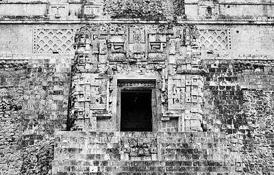 Photograph - Uxmal Magicians Pyramid Alter Room Black And White by Shawn O'Brien