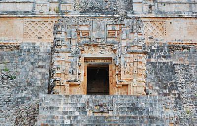 Photograph - Uxmal Magicians Pyramid Alter Room  by Shawn O'Brien